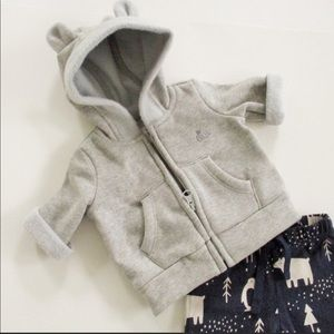 Baby Gap Gray Full-Zip Hoodie w/ Ears, Size 0M
